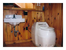 composting toilet review of Sun Mar Compact Model installed in cabin in Pocono Lake Preserve, PA